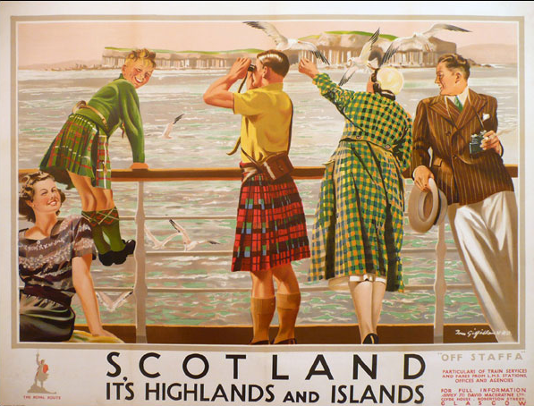 Scotland: Its Highlands and Islands (off Staffa) by Tom Gilfillan, printed by John Horne for LMS
