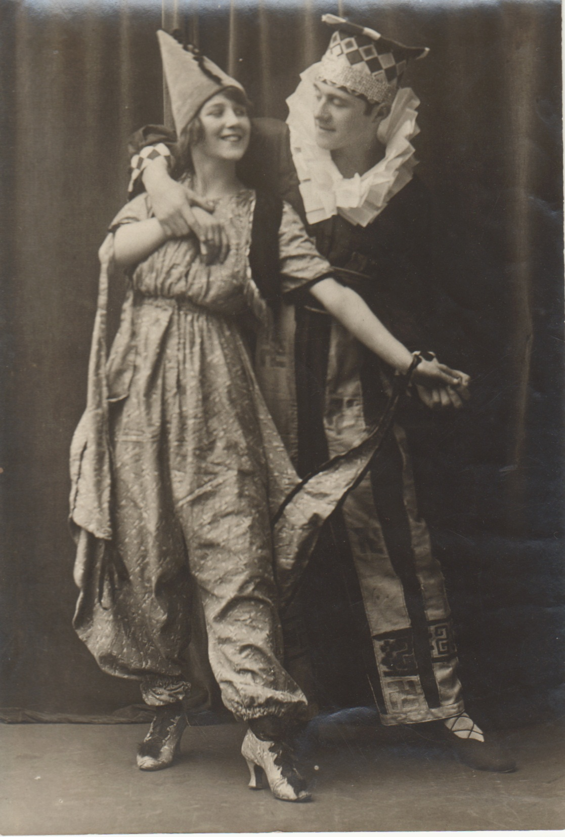 Photograph of GSA students Alec Milne and Alice Smith dancing in costume, 1910s.