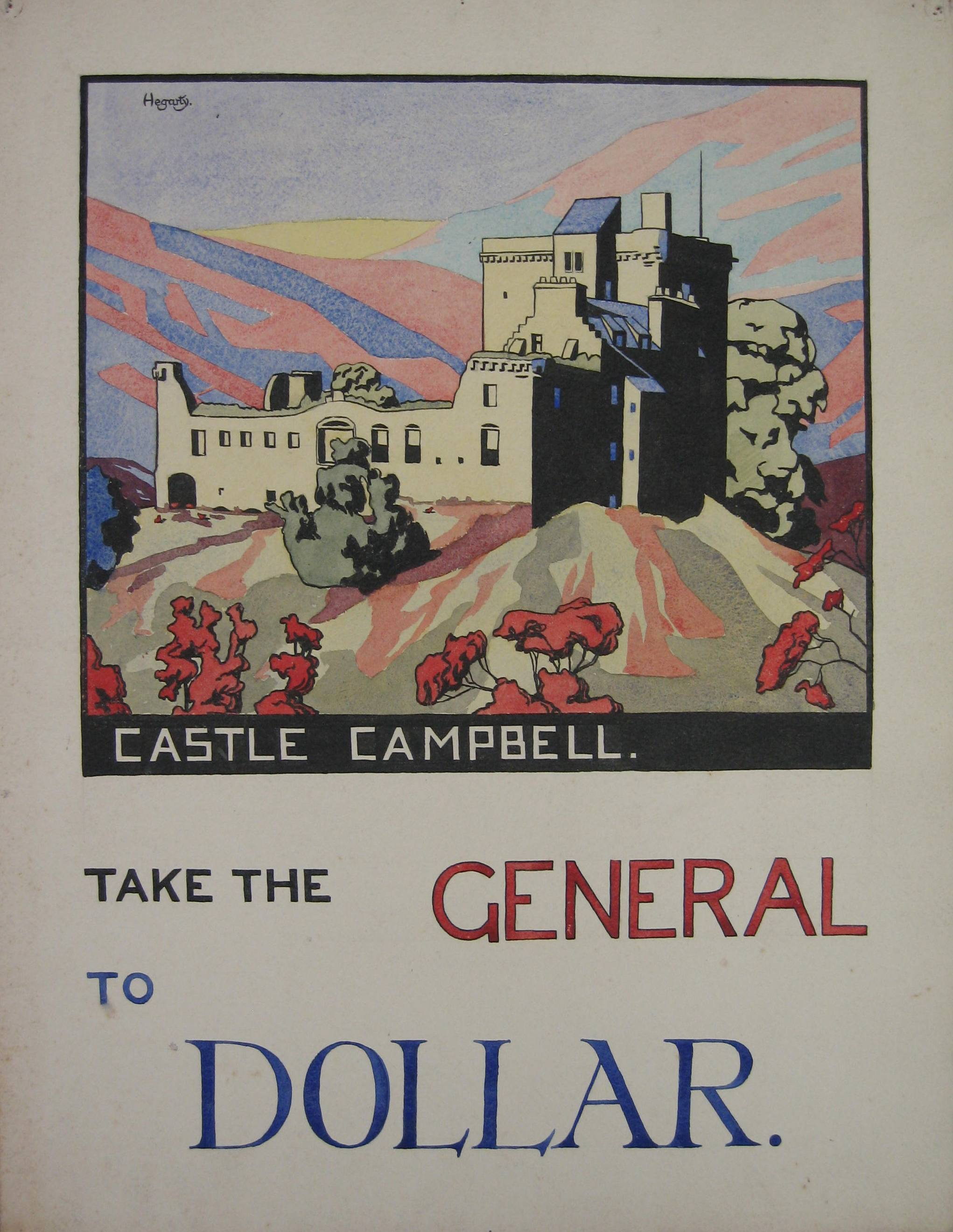 NMC 570, Poster depicting Castle Campbell, Dollar. For the Scottish General Omnibus Company Ltd, by John Hegarty, c1927