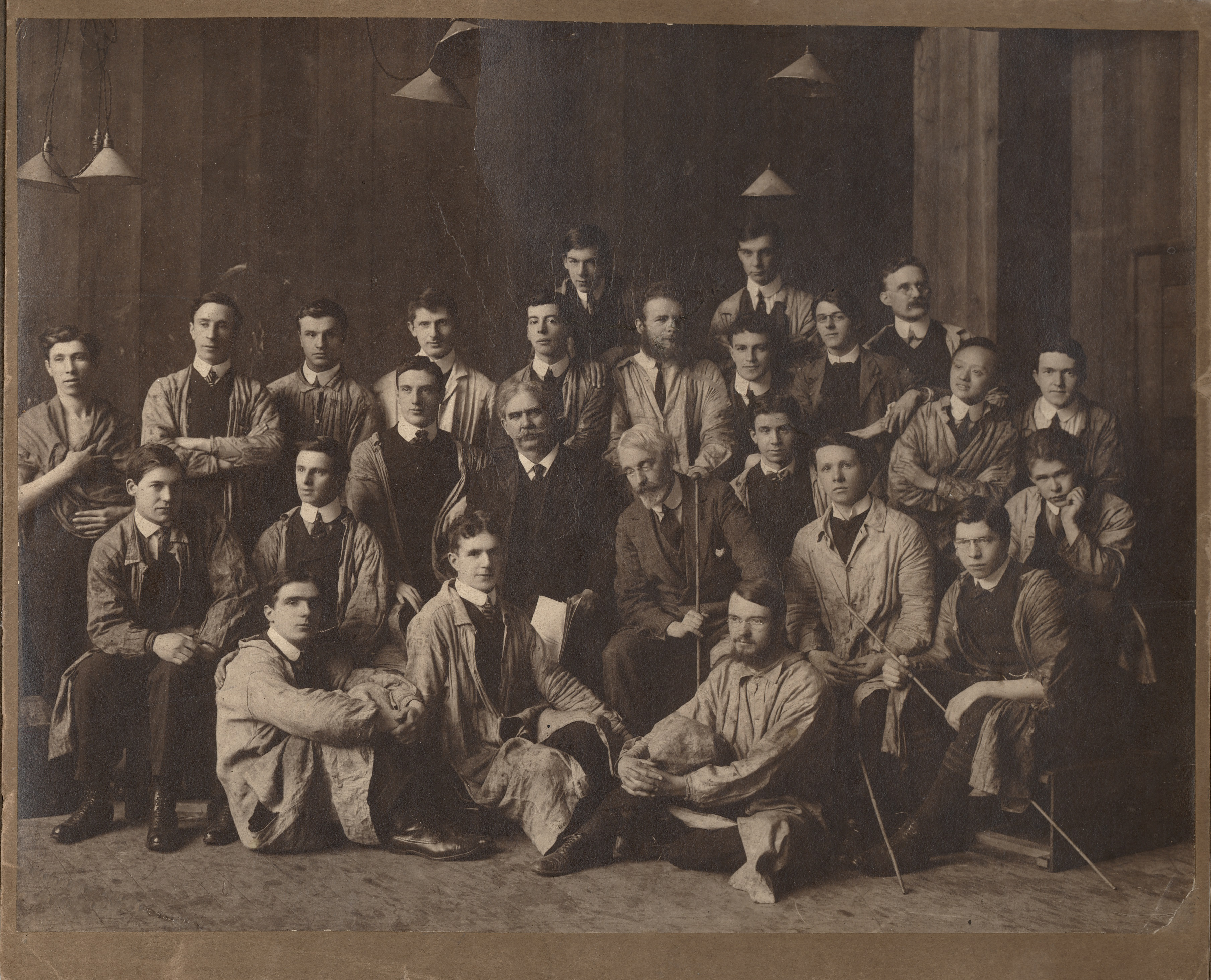 Tsoo Hong Lee (far right) with fellow Drawing and Painting students, and tutors Newbery and Greiffenhagen, c1910