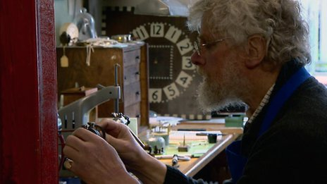 Horologist Kenneth Chapelle conserving one of the clocks. Image courtesy of BBC.