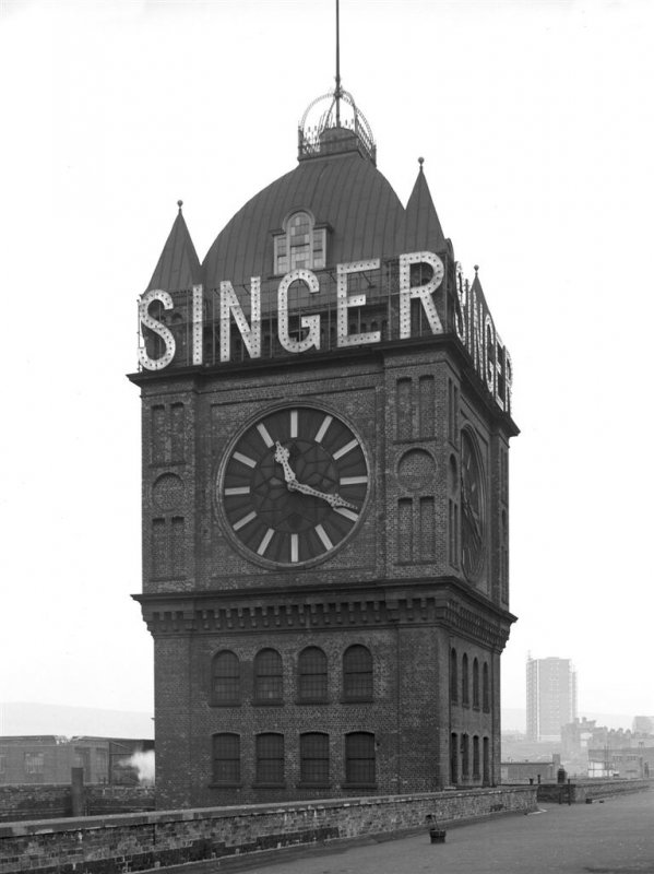 View of clock-tower at Singer's Sewing Machine Factory, Clydebank. Demolished 15 March 1963. Image credit: RCAHMS