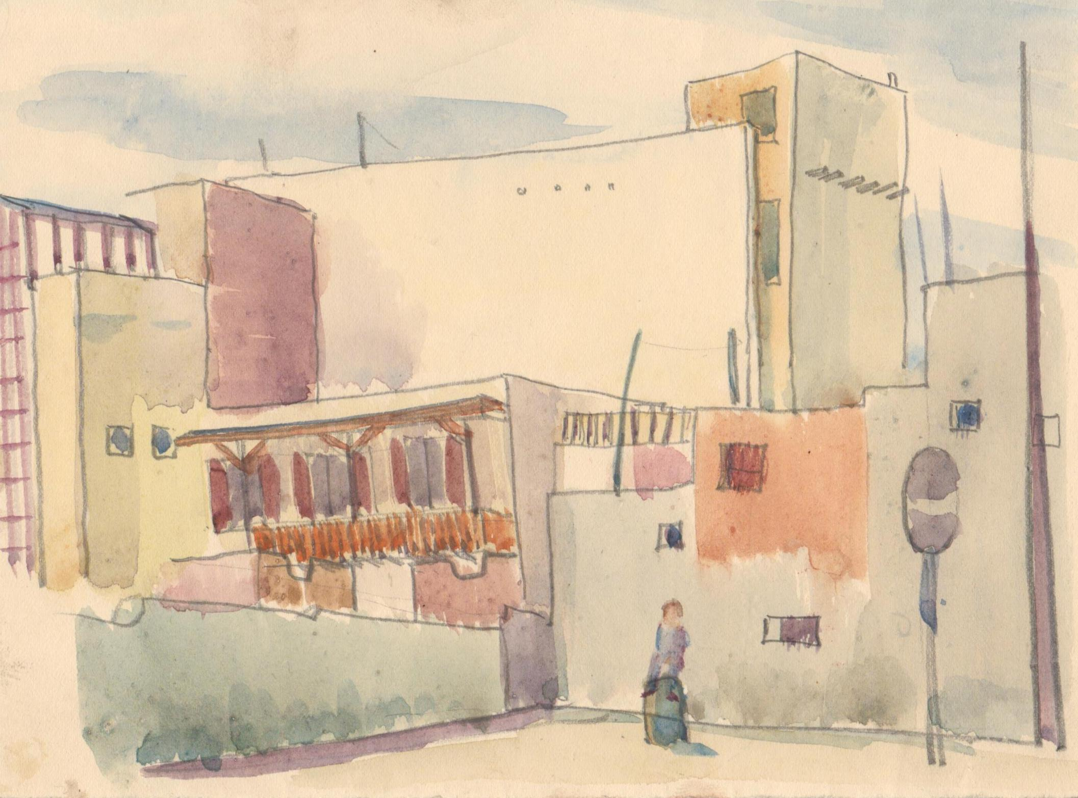 Cairo street scene, by Fred Selby, 1940s