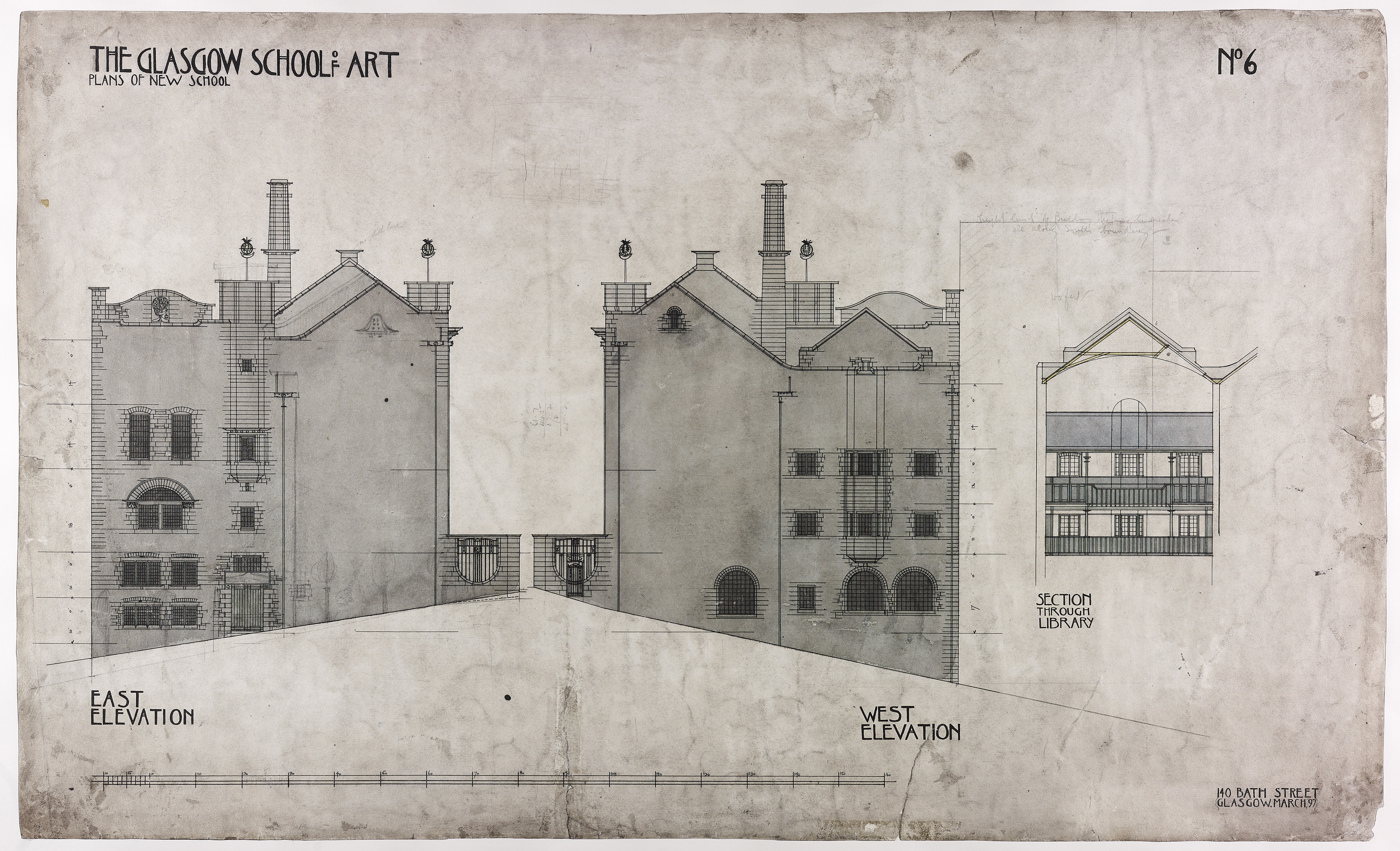 East-west elevation of the Mackintosh Building, Charles Rennie Mackintosh, 1897