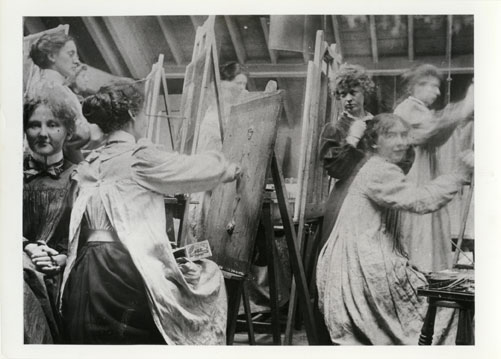 Ann Macbeth (top left) painting alongside fellow female students, c1912