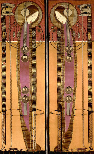Embroidered panels, by Margaret Macdonald Mackintosh, c1902-1904