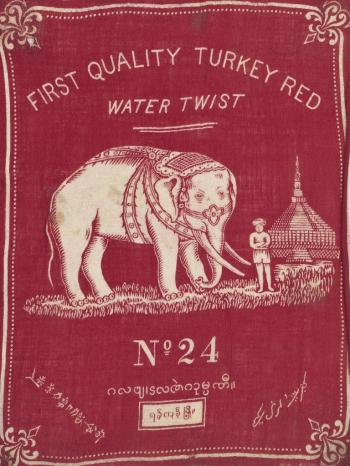 Sample of printed cotton cloth showing a trade mark for 'First Quality Turkey Red', 1867. Image courtesy National Museums Scotland with kind permission of Coats plc