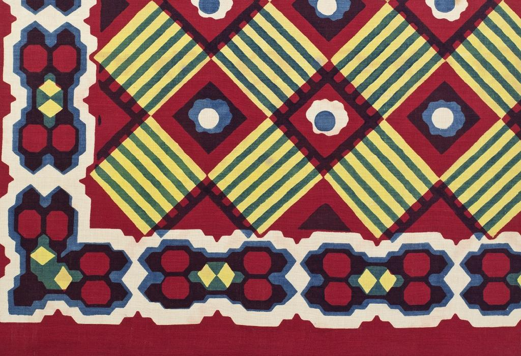 Textile sample of Turkey red dyed and printed cotton, c 1840-50. Image courtesy of National Museums Scotland with kind permission of Coats plc