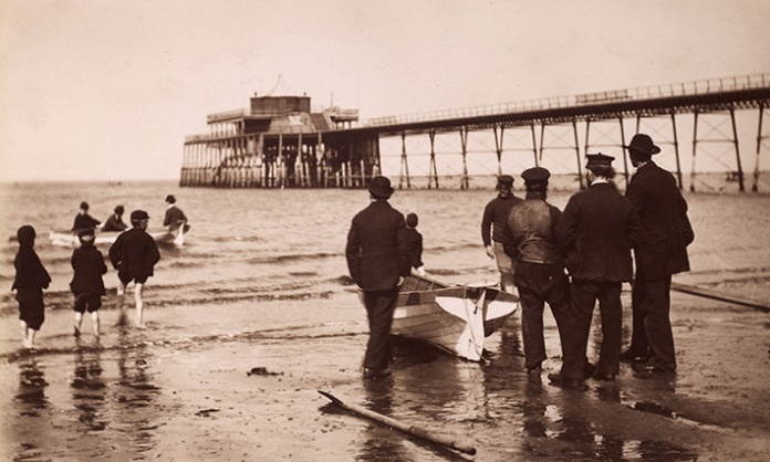 Portobello Pier in Edinburgh was opened in 1871 and demolished after 1918. From the Photograph Albums Collection. DP137192. Image credit: RCAHMS