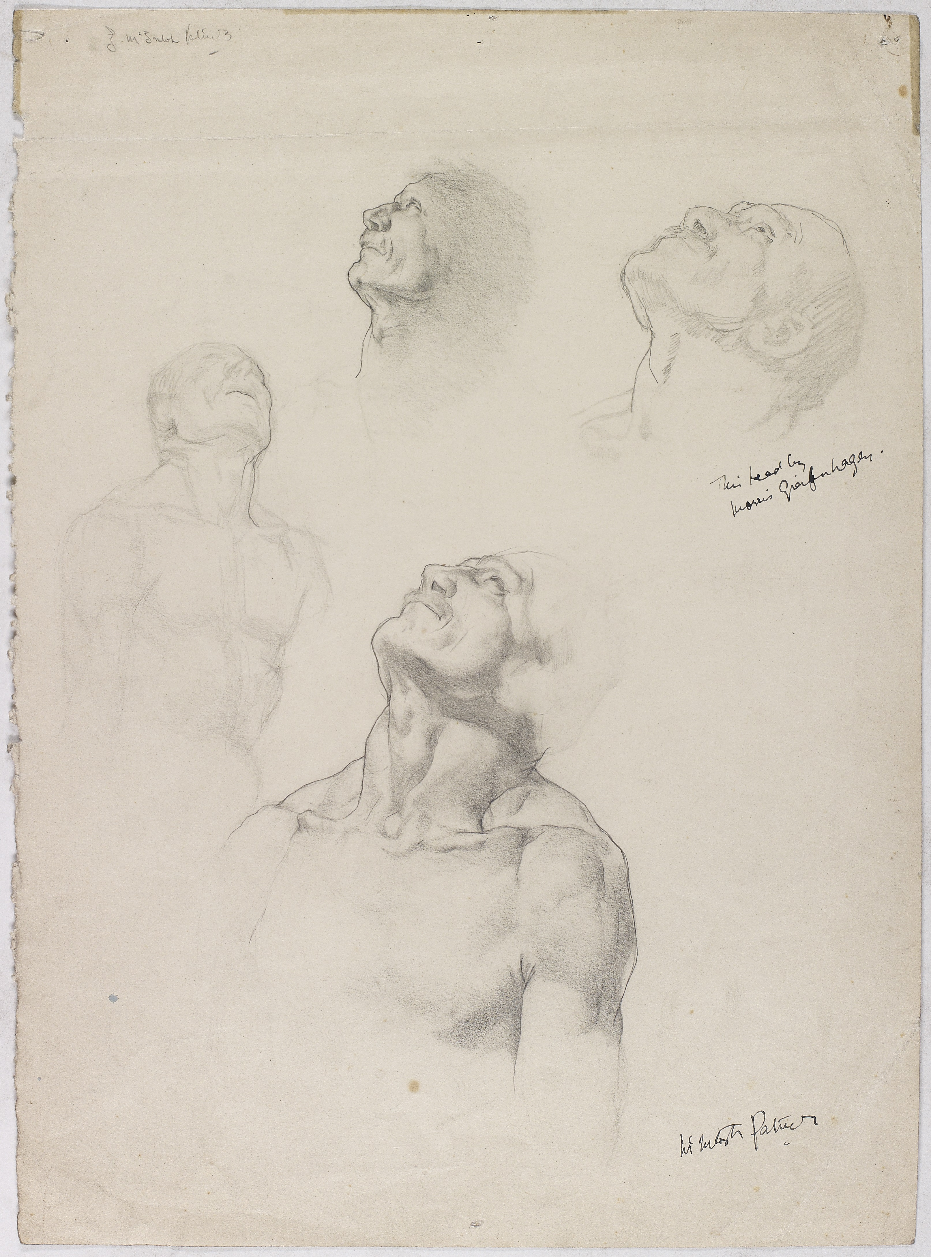 NMC 605, Male figure study by James McIntosh Patrick, featuring corrections by Maurice Greiffenhagen, c1927