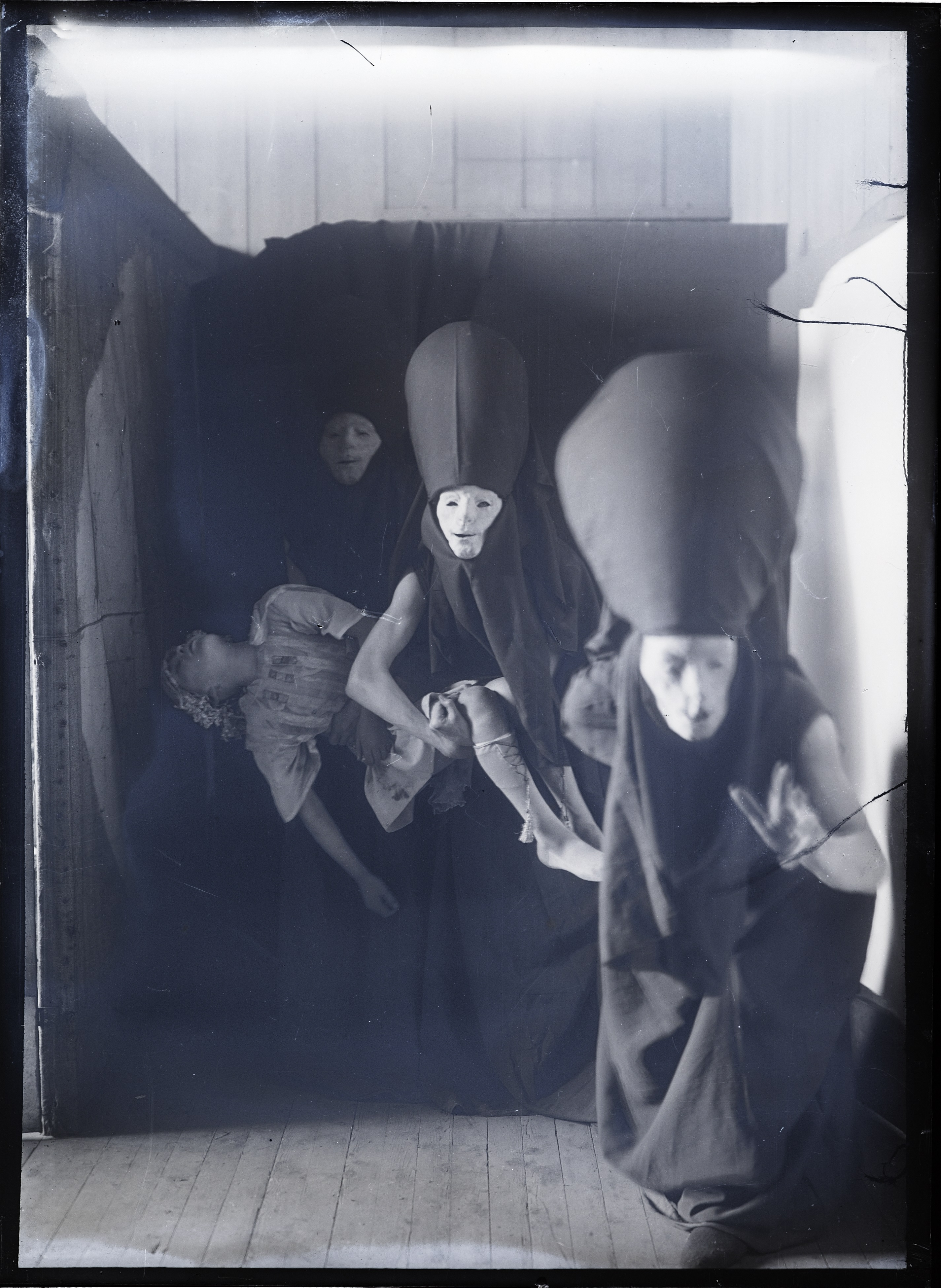 Glasgow School of Art glass plate negative showing students in costume, early 1900s
