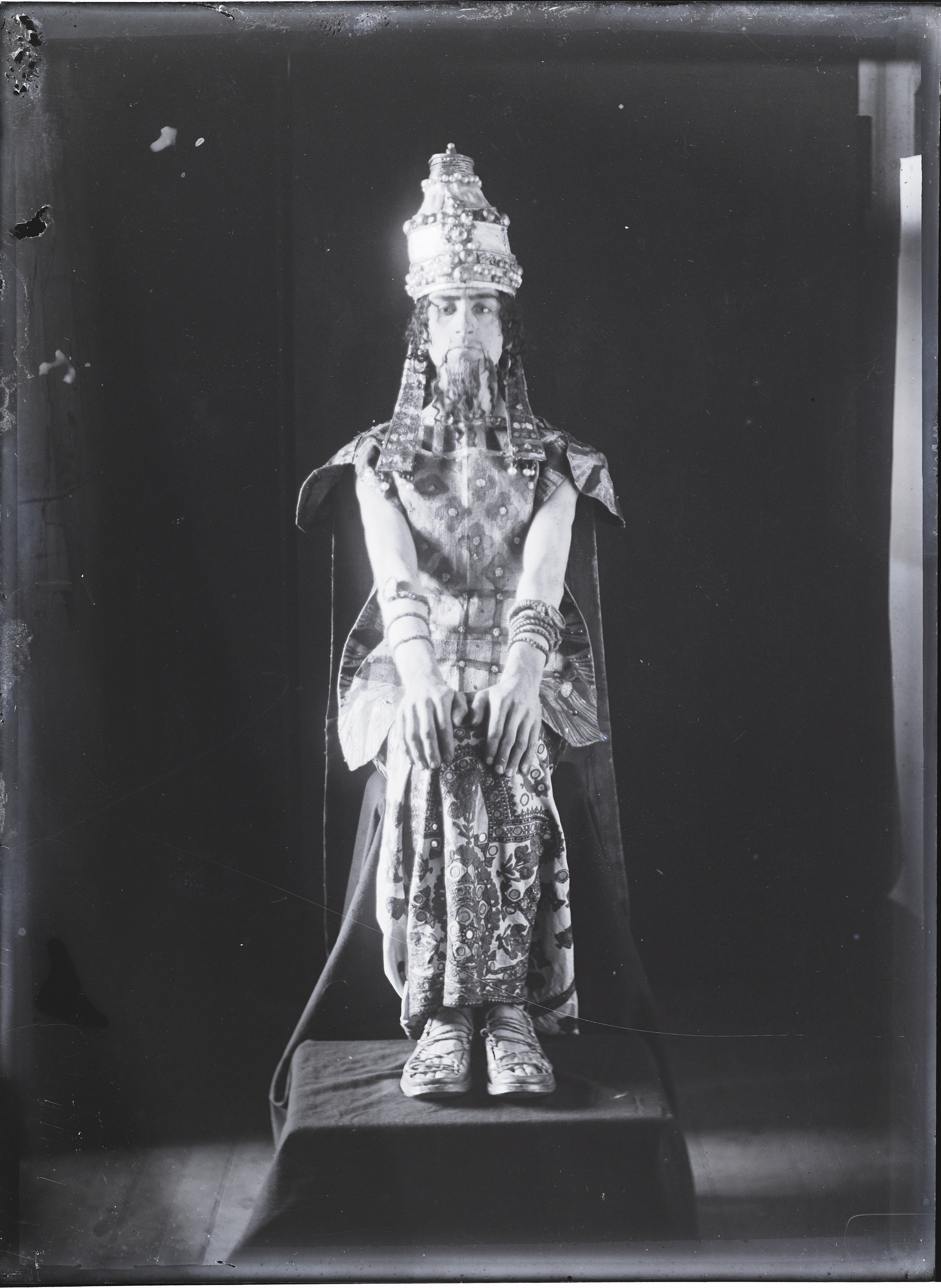 Glasgow School of Art glass plate negative featuring student in costume, early 1900s