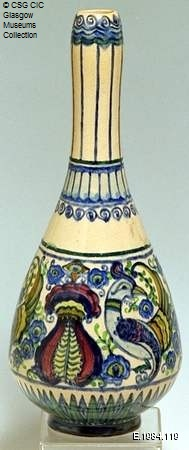 Ceramic vase held by Glasgow Museums and now on display as part of a revamp of the Charles Rennie Mackintosh Gallery at Kelvingrove Museum and Art Gallery. The vase was designed by Georgina Goldie Killin, who was a student and later a member of staff at Glasgow School of Art. Image credit: © CSG CIC Glasgow Museums Collection