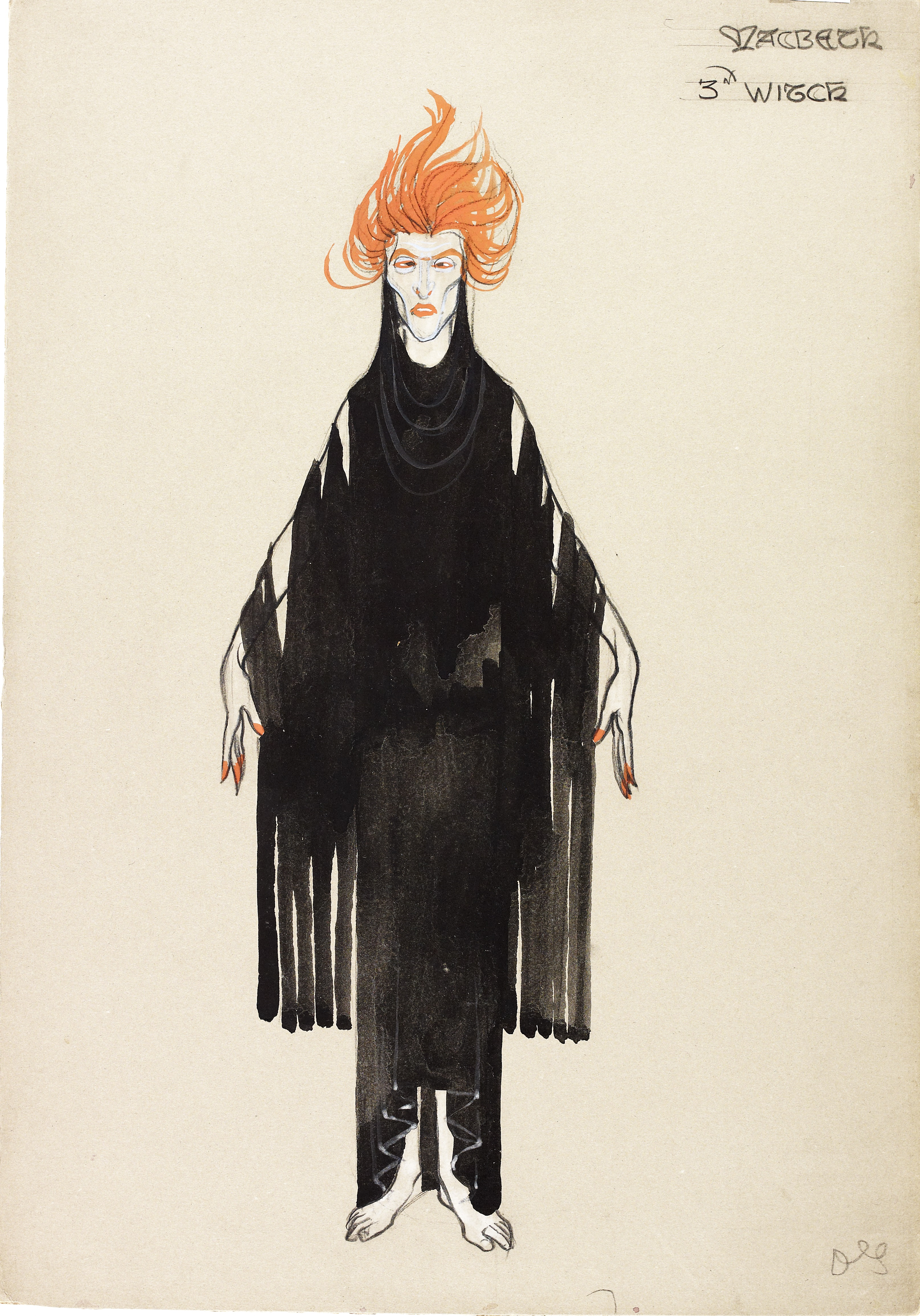 NMC096/R Costume design for the 3rd witch in Macbeth, but Dorothy Carleton Smyth, 1933