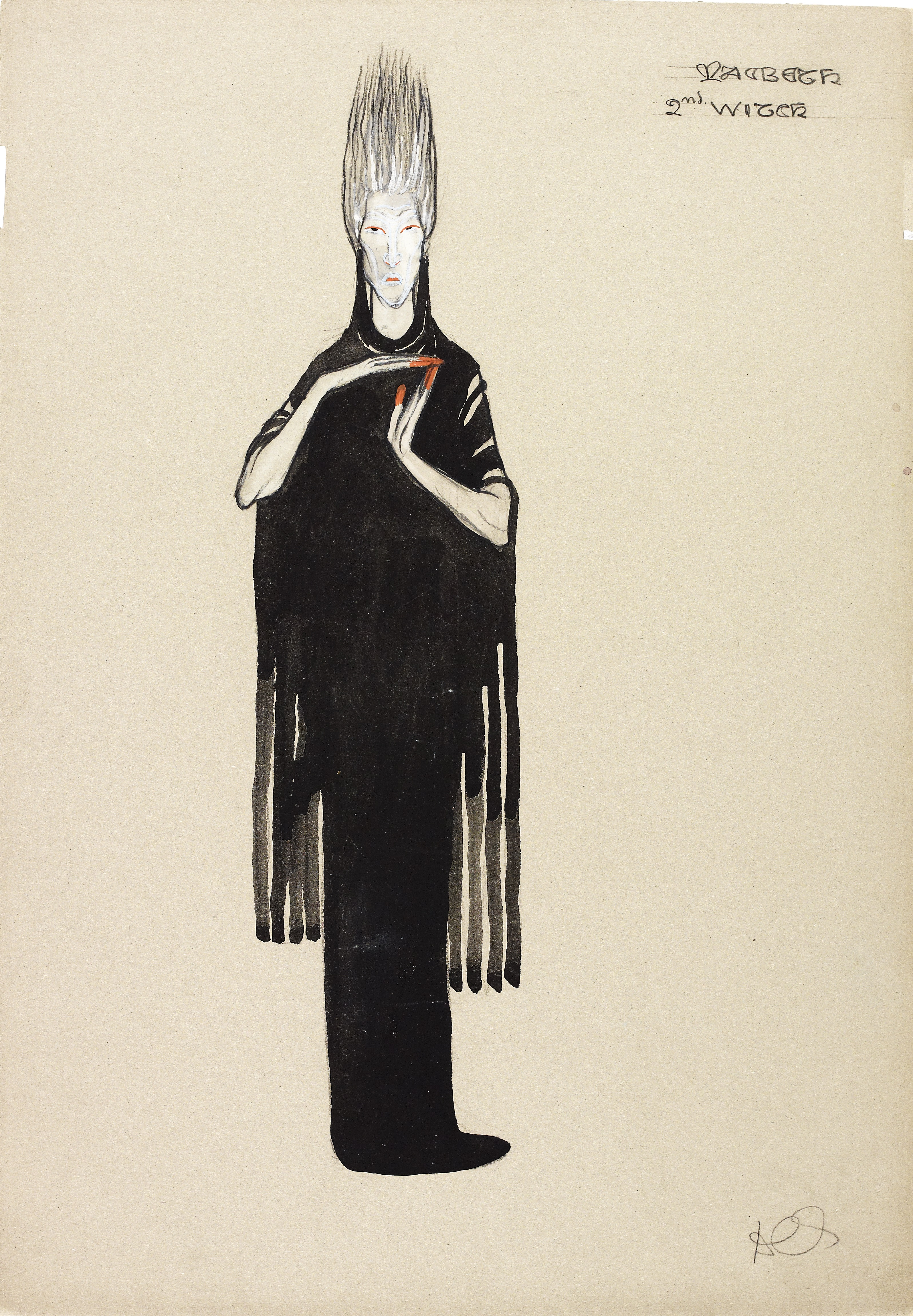 NMC096/U Costume design for the 2nd witch in Macbeth, but Dorothy Carleton Smyth, 1933