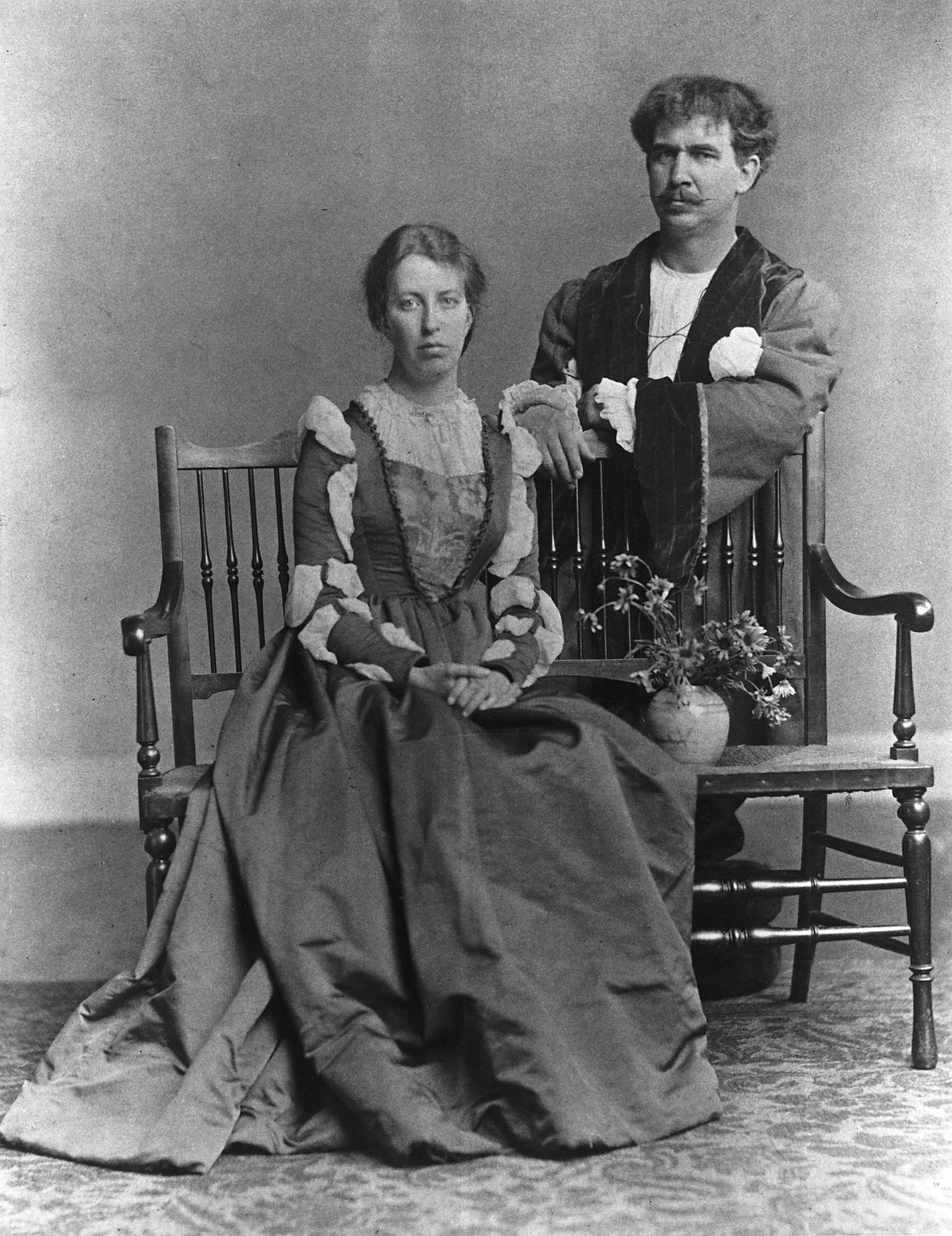 Fra Newbery and wife Jessie Newbery in costume, late 19th-early 20th century