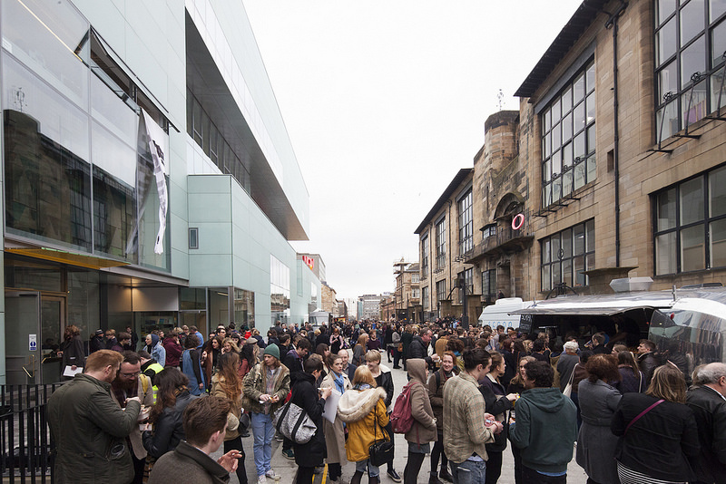 Outside The Reid and The Mackintosh Building on opening day.