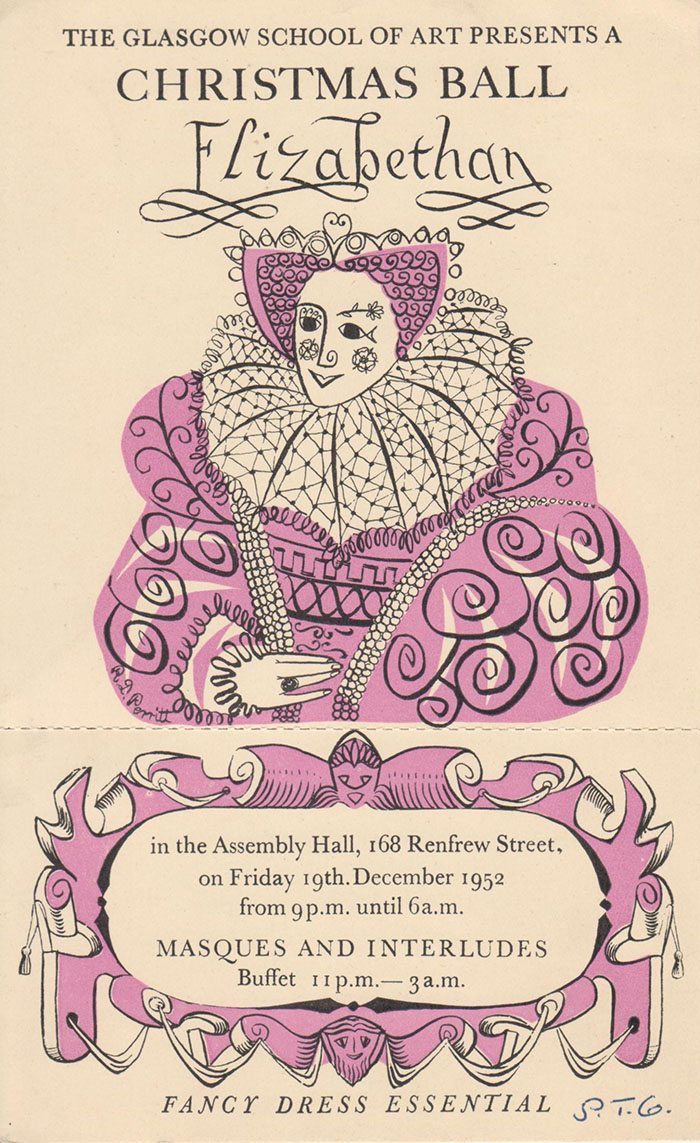 DC 073/43, Flyer for a Christmas  Ball, by Gordon Huntly, 1952