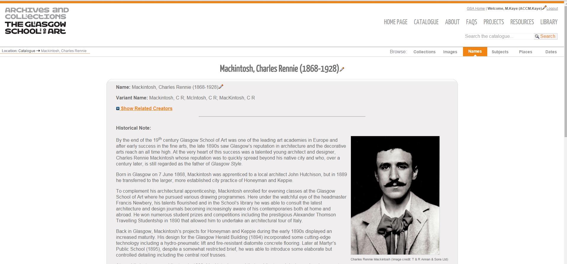 Mackintosh Creator page