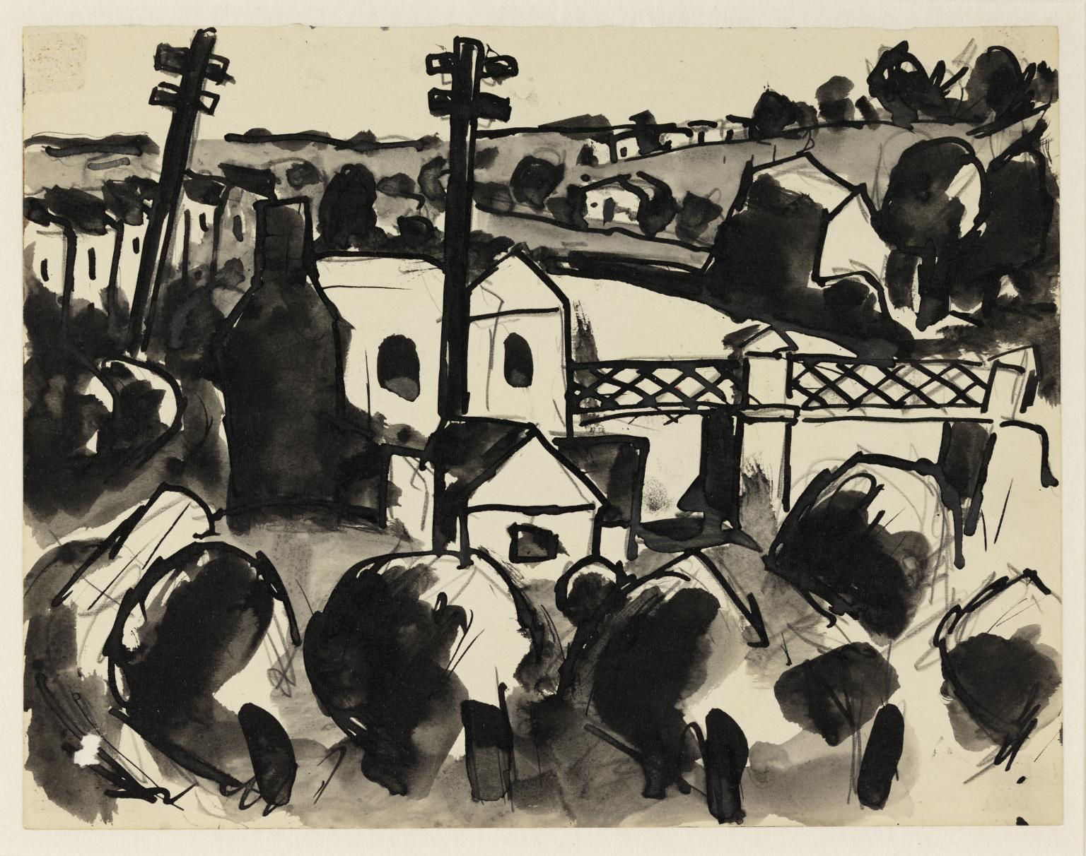 Sketch of looming down on the bridge by Josef Herman; © The estate of Josef Herman, © Tate (year), CC-BY-NC-ND 3.0 (Unported), http://www.tate.org.uk/art/archive/TGA-835-115-1