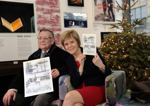 Conrad McKenna and Nicola Sturgeon at the unveiling in the Window on Mackintosh visitor centre yesterday afternoon. Image credit: The Scotsman.