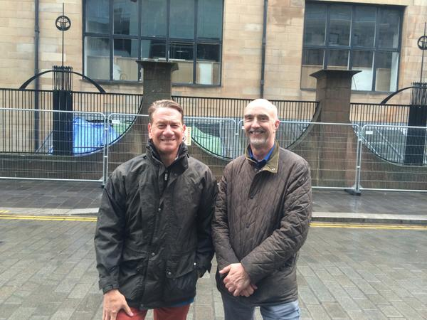 Michael Portillo outside the Mackintosh Building with GSA's Douglas Anderson