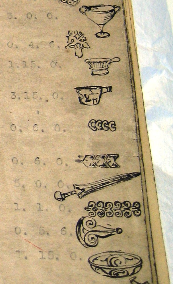 Detail of some of the sketches in the Loans Department Inventory of Material, 1914-1918 (our ref: GSAA/ISE/4/1, 1 of 3)