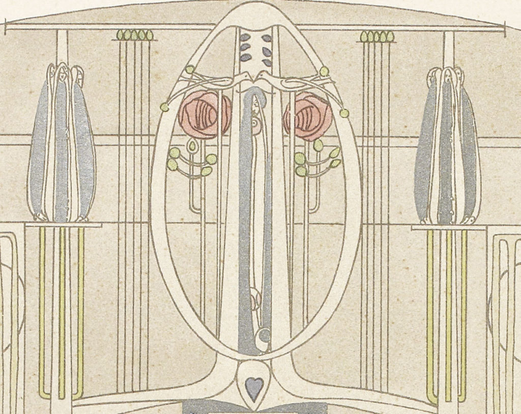 MC/G/31/A Close up of a Mackintosh sketch for a music room with piano and fireplace