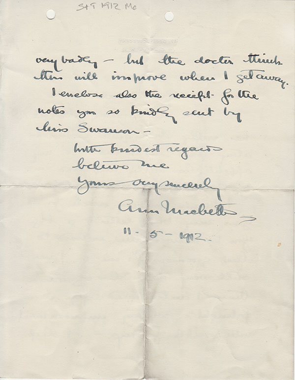 Letter from Ann Macbeth to the Mr Groundwater the School Secretary