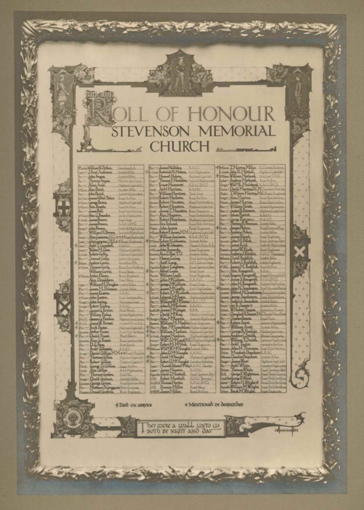 Roll of Honour Stevenson Memorial Church
