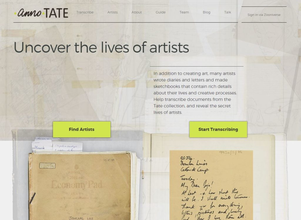 Home page of annoTATE. Image courtesy annoTATE