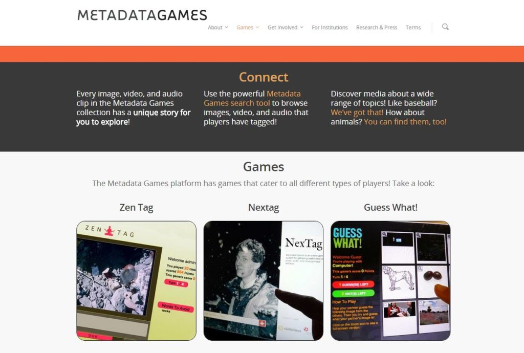 Metadatagames game page. Image courtesy of metadatagames