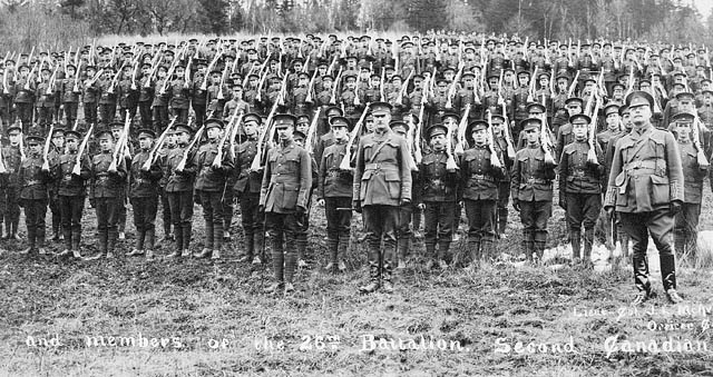 Officers and Members of the 26th Battalion of the Second Canadian Expeditionary Force. Image courtesy of Wikipedia
