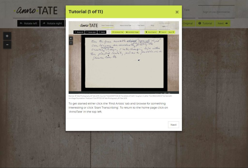 Getting started. Image courtesy of annoTATE