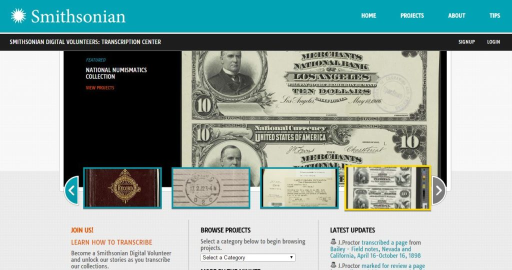 Smithsonian Transcription Center. Image courtesy of The Smithsonian