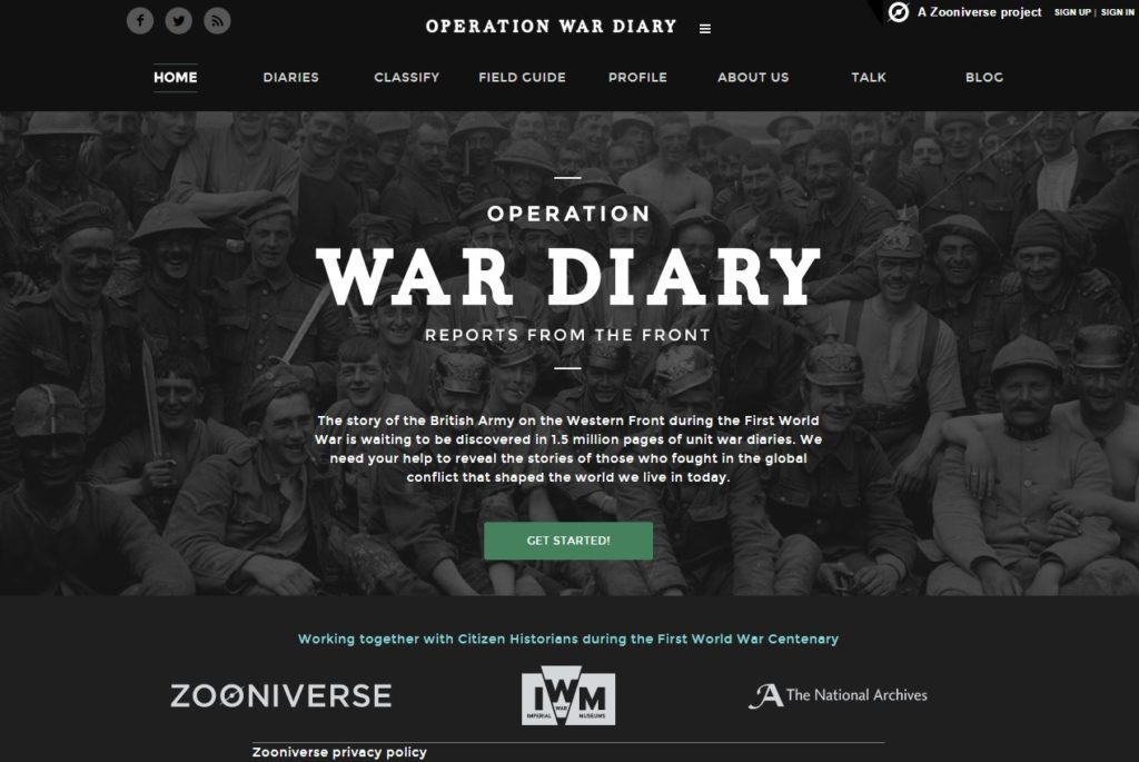Operation War Diary homepage. Image courtesy of The National Archives
