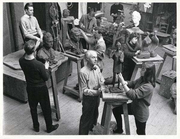 Benno Schotz teaching GSA sculpture class (Archives Reference: GSAA/P/1/726)