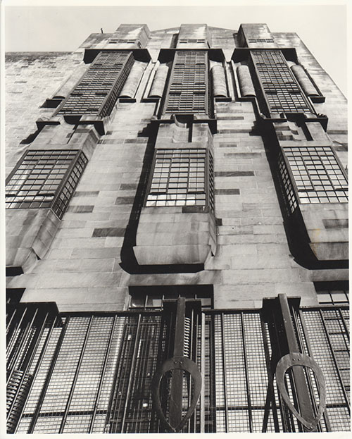 Photograph from the GSA Archives of the Mackintosh Library windows (Archive reference: GSAA/P/7/49)