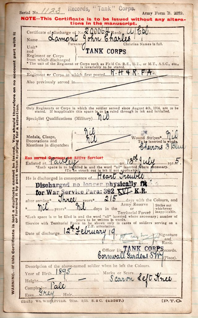 Lamont discharge certificate. Image courtesy of Harbour Cottage Gallery (Personal Archive)
