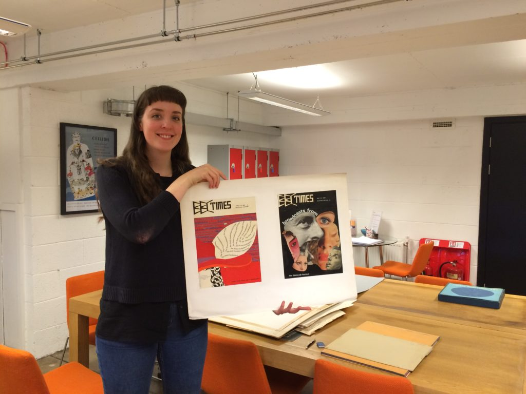Emma cataloguing Lindsay Wadey's work