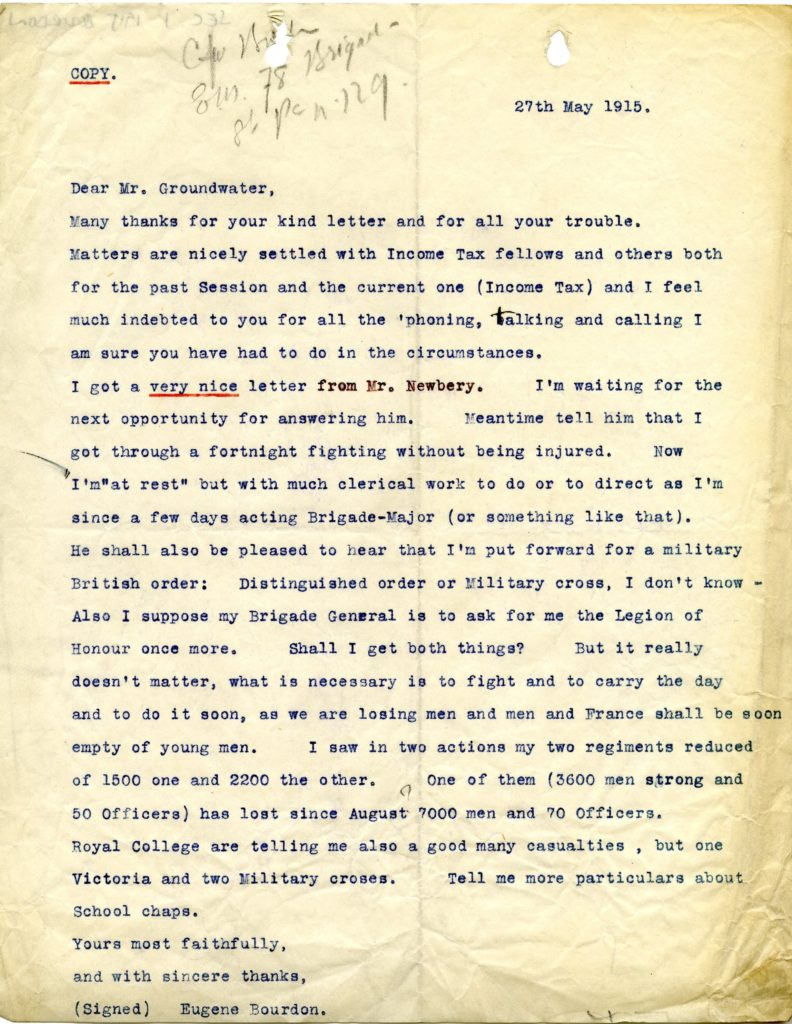 Copy of a letter to Groundwater commenting on his circumstances. GSA Archives and Collections (archive reference: GSAA/SEC/1/ 1915 BOURDON)