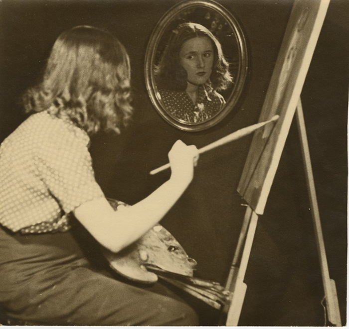 Cordelia Oliver with paint brush in hand, GSA Archives and Collections (archive reference: DC/066)