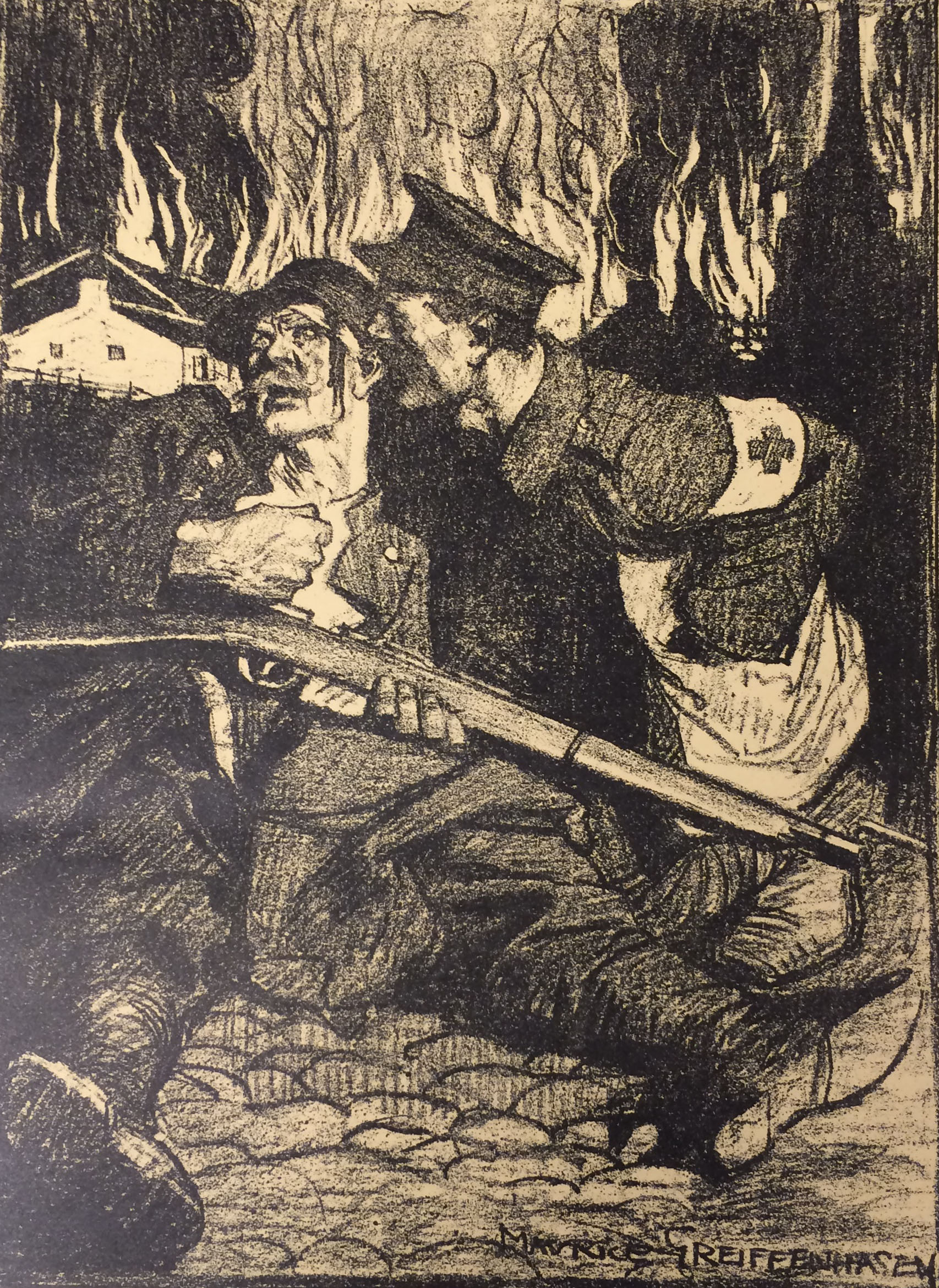 Copy of lithograph by Maurice Grieffenhagen, depicting the plight of the Belgians and the Red Cross. GSA Archives and Collections (archive reference: