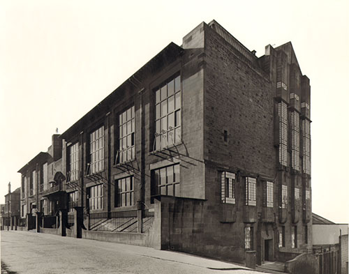 Photograph of the Mackintosh Building showing front and west facades (archive reference: GSAA/P/7/15)