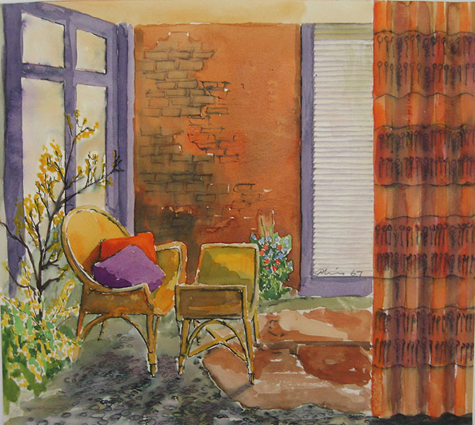 Interior Design Drawing, Flat for Henry Hellier by Donald Melvin, GSA Archives and Collections (archive reference: DC/074/1)