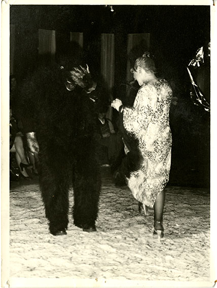 Photograph from the 1977 Fashion Show Featuring a gorilla costume. Archive Reference: JAC/43