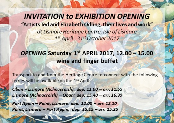 "Flyer for ""Artists Ted and Elizabeth Odling, their lives and work"" exhibition."
