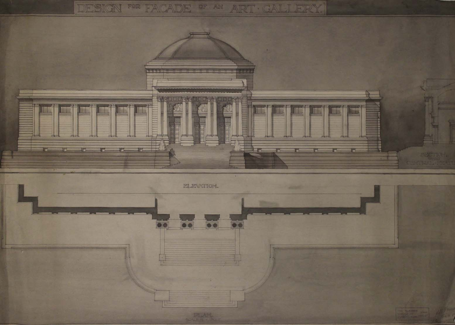 Facade for an Art Gallery dated 21st February 1927 (Archive Reference: DC 088/1/3/1)