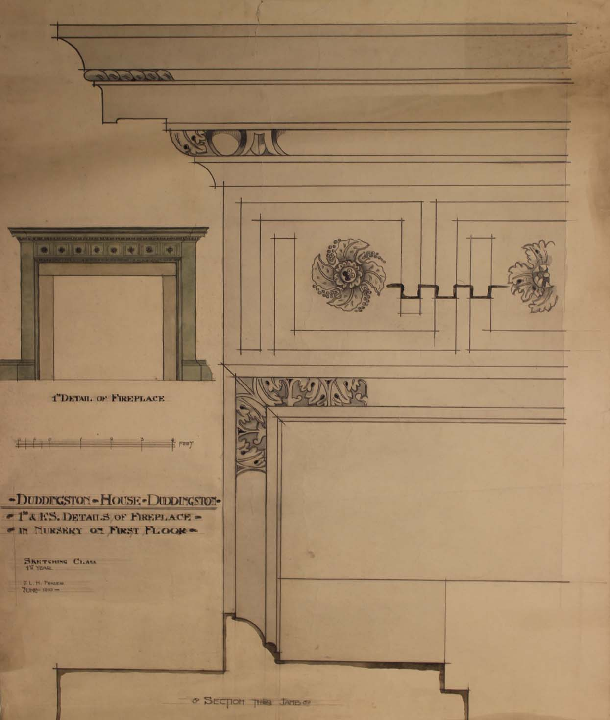 Student work by James Lovat Hosack Fraser, brother of Kenneth Murray Fraser, dated 1910 (Archive Reference: DC 088/4/1/1)