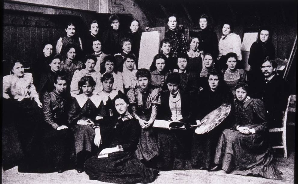 1. Glasgow School of Art students with Francis Newbery, featuring Katherine Cameron and Frances Macdonald, 1890-1891 (Archive Reference: GSAA/P/1/5 (1) )